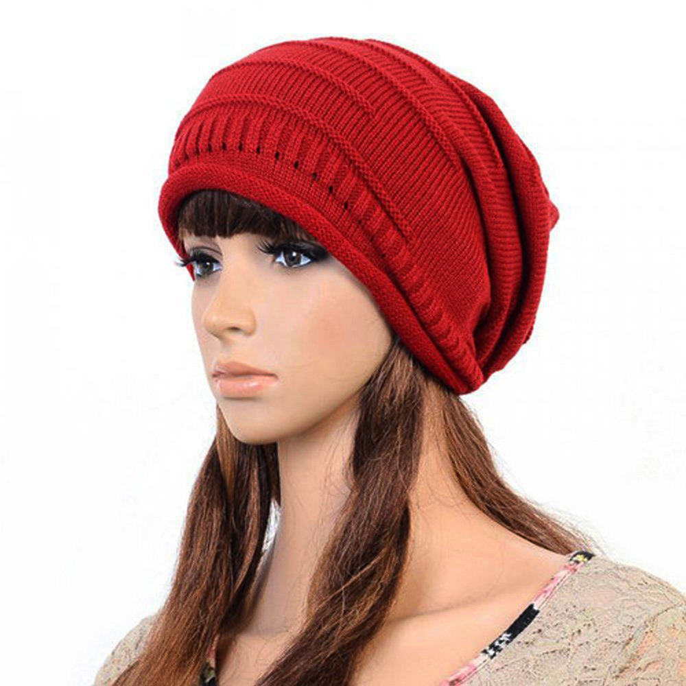 Unisex Winter Plicate Baggy Beanie Knit Crochet Ski Hat Cap - Red купить