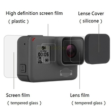 Clownfish For Gopro Hero 5/6/7 black Lens film LCD Screen Protector Protection Film tempered glass Lens Cap/Cover For gopro7 6 5