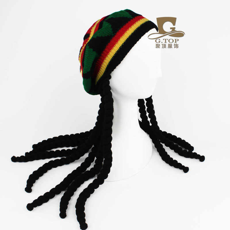 9671e8260 Fancy Dress Party Costume Hippie beret Dreadlocks Wig jamaican rasta knit  hat Bob Marley Caribbean Fancy Dress Prop