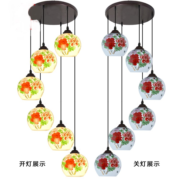 Chinese staircase Pendant Lights rotating ceramic lamp villa living room restaurant aisle lights LED Pendant lamps stairs lights chinese villa k9 crystal led long pendant lights rotary double staircase living room lighting pendant lamps za