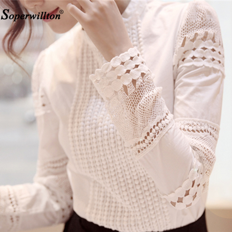 New Shirt Ladies Blouses Slim Bottoming Lengthy-Sleeved Plus Dimension S-4Xl Women White Shirts Lace Hook Flower Hole Tops Feminine