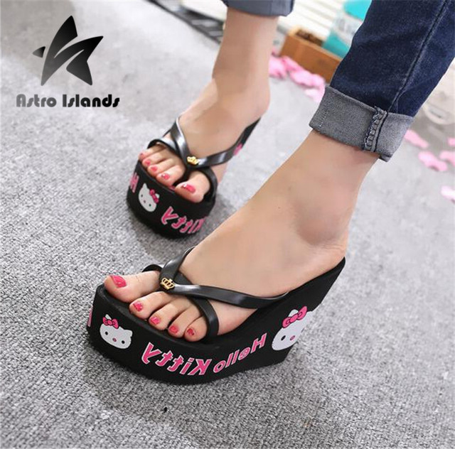 4581e25020db New Arrival Women Sandals Cute High Heels Beach Sandals Wedge Sandal  Zapatos Mujer Flip Flops Woman Shoes F585