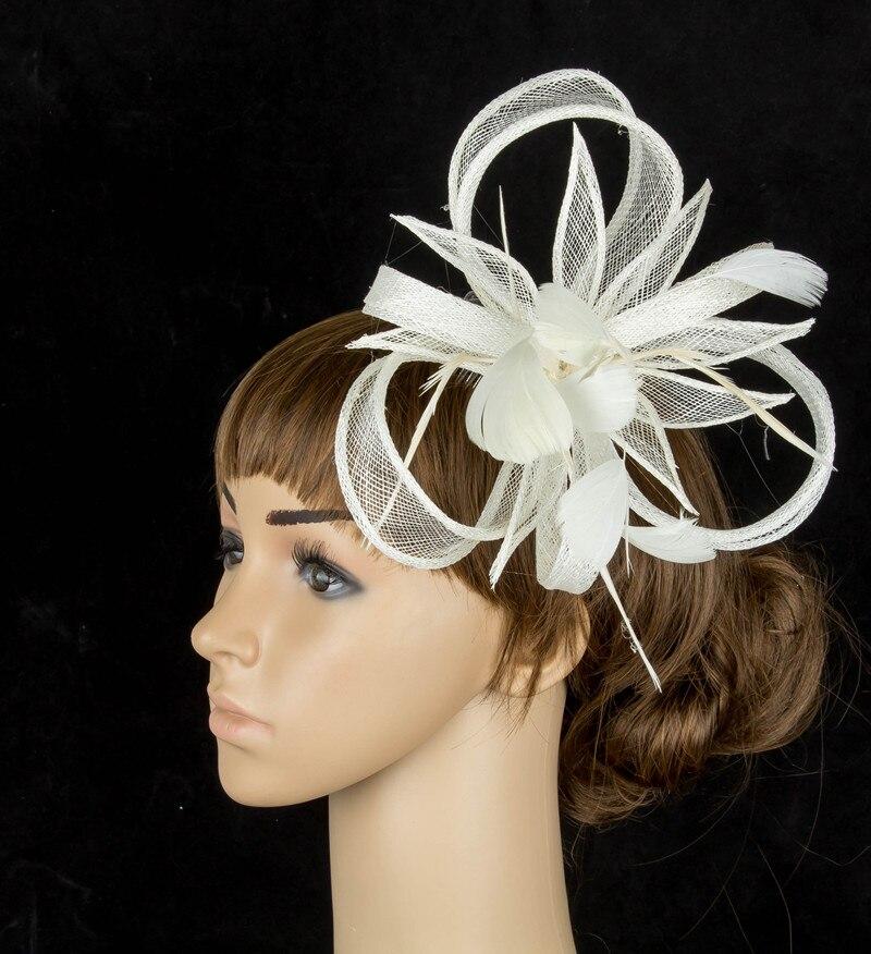 Желтая Свадебная расческа для волос sinamay, аксессуары для волос, Популярные головные уборы для женщин, вечерние головные уборы - Цвет: Бежевый