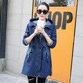 Джинсовая плащ плюс размер женщин clothing 2017 весна осень зима новый стиль синий черный с капюшоном пальто мода долго ветровка