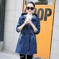 denim trenchcoat women plus size clothing 2017 spring autumn winter new style blue black hooded coat fashion long windbreaker