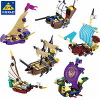 KAZI 87024 6pcs/set Pirates Ghost ship Educational Construction Building Blocks Toys for Children Hobbies Toys Boys Brinquedos