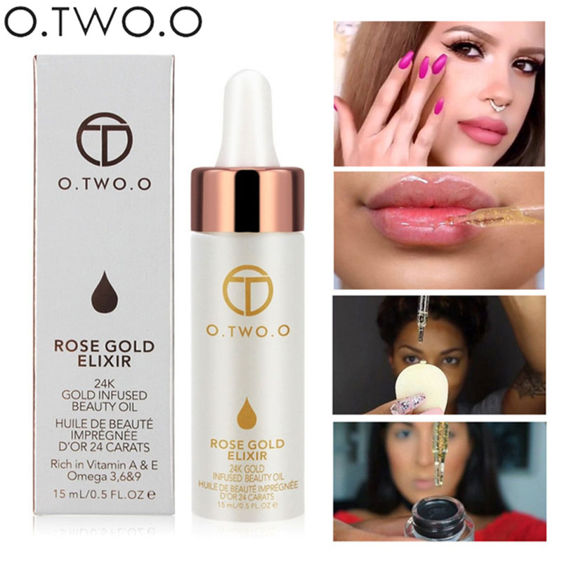 O. TWO.O Brand Primer Face Lips Make Up Moisturizer Leicht zu absorbieren Gold 24K Rose Essential Oil Face Base
