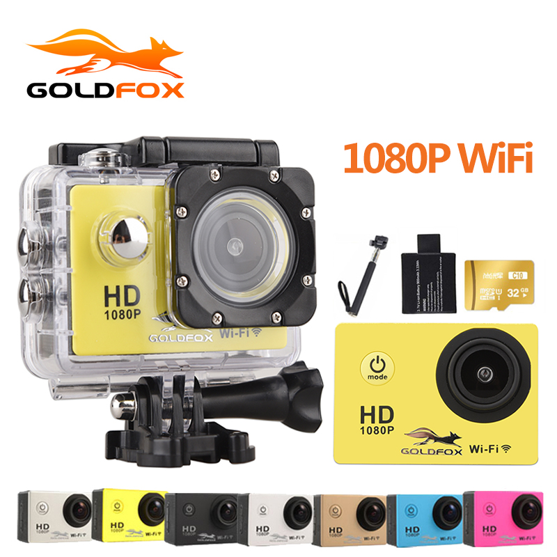 GOLDFOX Wifi 1080P HD Sport Action Camera 2.0 inch Screen 30M Go Waterproof Outdoor Sports Camera Mini DV Bike Cam Car Camcorder стоимость