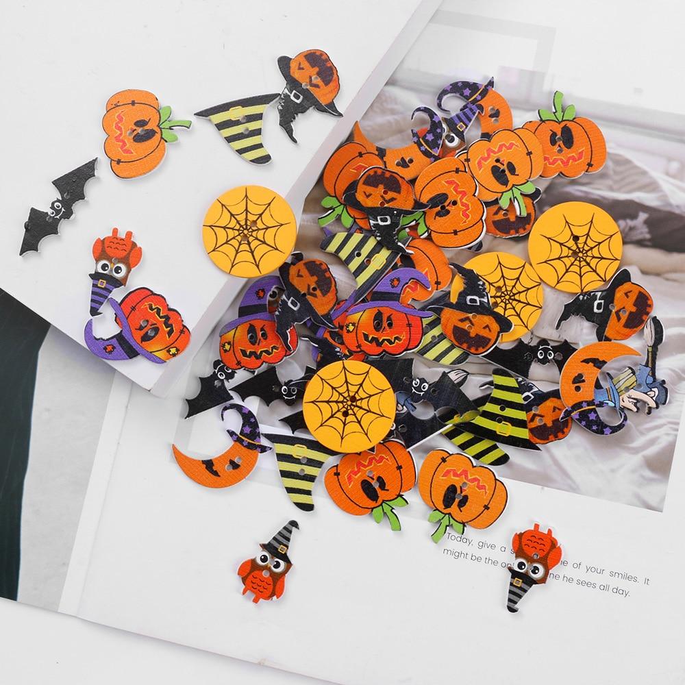 100pcs Mixed Halloween Pumpkin Wooden Buttons for Sewing Scrapbooking 18mm