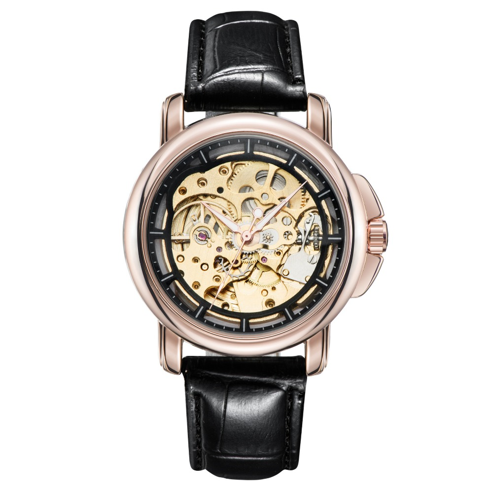 TEVISE Rose Gold Hollow Automatic Mechanical Watches Men Luxury Brand Leather Strap Casual Vintage Skeleton Watch Clock relogio forsining gold hollow automatic mechanical watches men luxury brand leather strap casual vintage skeleton watch clock relogio
