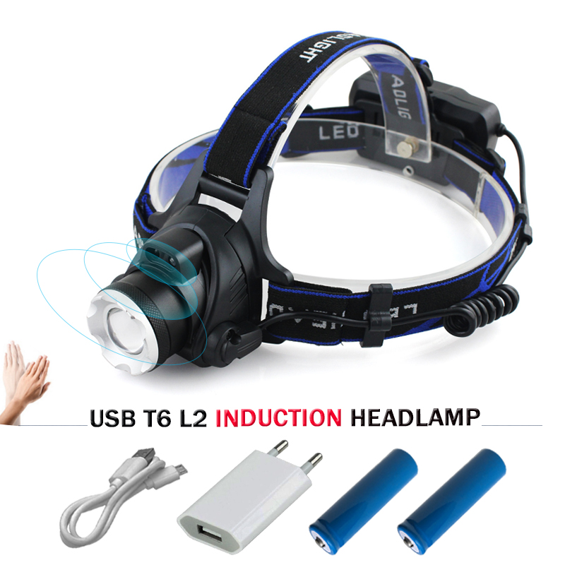 Induction zoom led headlight usb headlamp cree xm l2 t6 led headlight waterproof flash light headtorch IR Sensor head lamp 18650