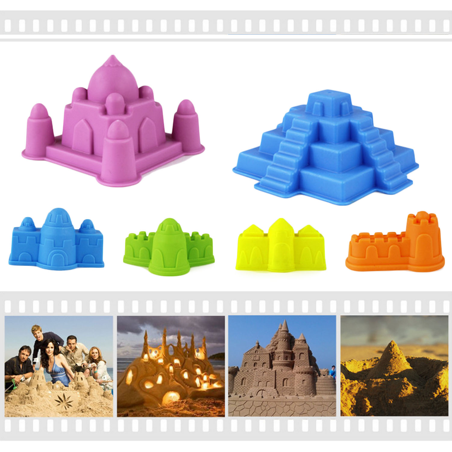 Besegad 6pcs Funny Kids Beach Sand Game Toys Set Castle Model Molds Beach Tools Toys For Kids Children Outdoor Beach Playset Toy