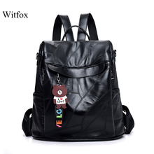 Lovely bear tassel backpack preppy style for women travel cell phone pocket female bag genuine leather Anti-theft