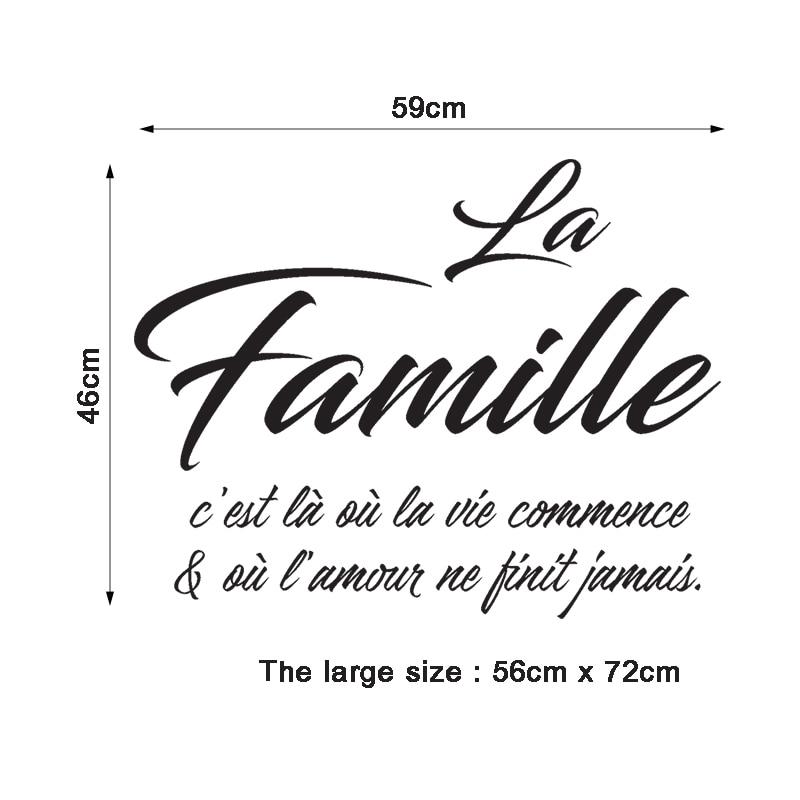 Sticker Citation La Famille C 39 est La Ou l amour Ne Finit Jamais Vinyl Wall Art Decal Bedroom Home Decor Poster House Decoration in Wall Stickers from Home amp Garden