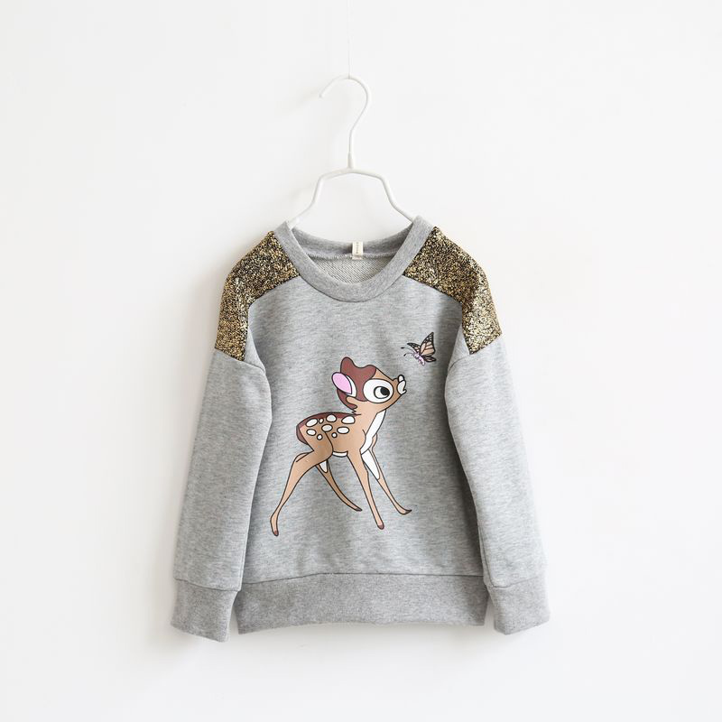 Children's Clothing Brand New Autumn Style Girls Clothing Tops Tees Cartoon Pattern Design Long-Sleeve Sweater Kids Clothes