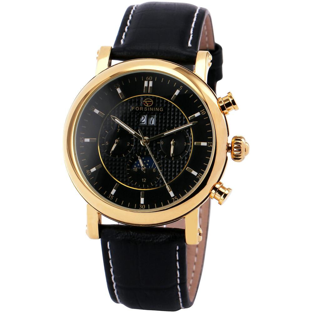 Winner Men Wrist Watch Automatic Mechanical Leather Strap Supersize Concise Style Date Calendar Box