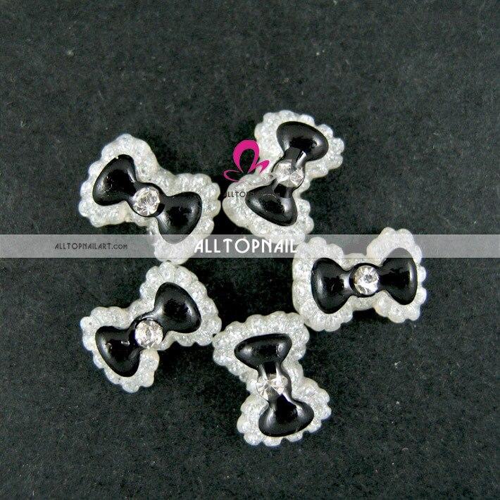 12 цветов смолы Дизайн ногтей украшения Дизайн ногтей Bowties с горный хрусталь в 12 сеток показан лоток Bowknots