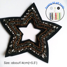1pc black embroidery beaded star patches for clothing 3D stars embroidered Patches DIY sew on Embroidery appliques parches 1pc landscape embroidered patches for clothing sew on tree embroidery parches for backpack clothing applique decoration badge