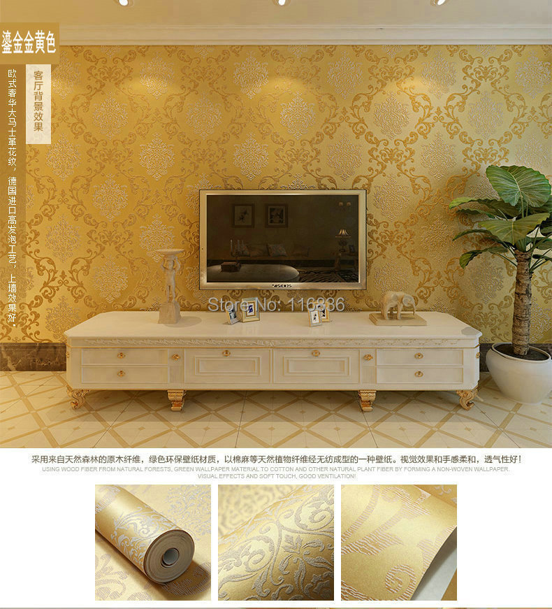 Yellow feature wallpaper living room for Gold wallpaper living room