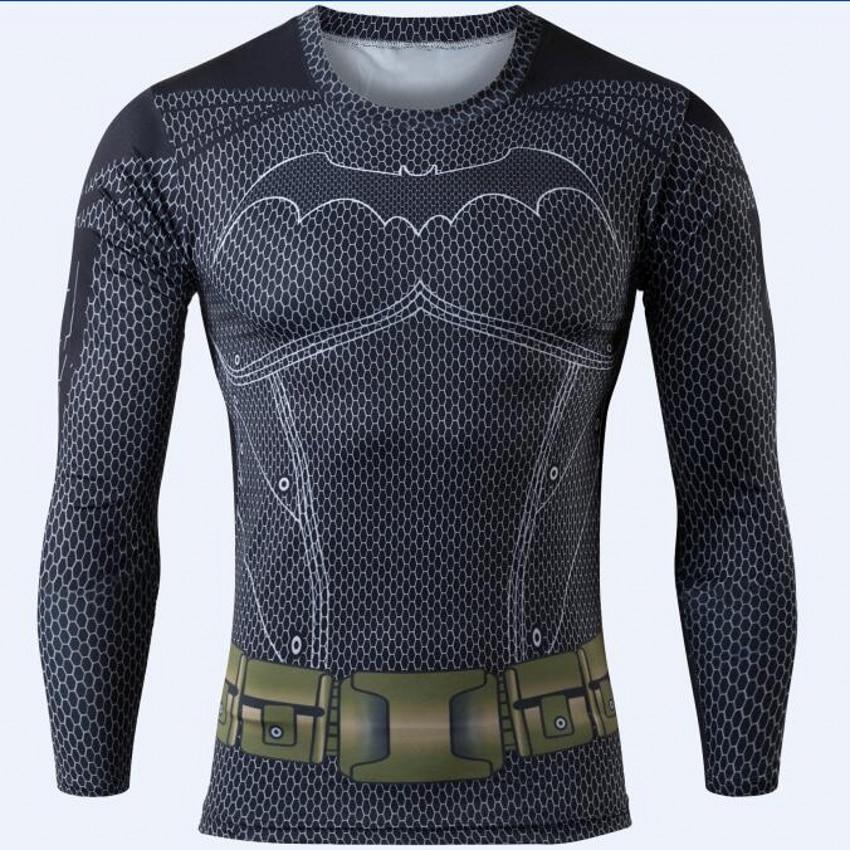 Men Clothing Fitness tshirt 3D Superman/Captain America Long Sleeve T Shirt Men Crossfit Compression Shirt