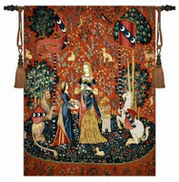 Aubusson Tapestry Wall Hanging Unicorn Series Sense Of Smell Big 139 105cm Medieval Dress Women Decorative