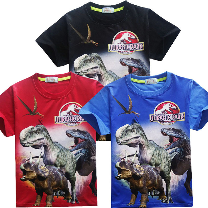 Jurassic Park Various Boys Girls Clothes T-shirt Dinosaur Movie Kids Children Short Sleeve Print Toddler Baby Boy Girl Clothing(China)