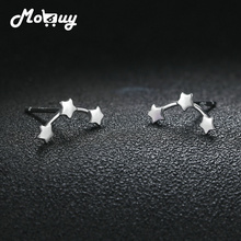 MoBuy Trendy Real 100% 925 Sterling Silver Stars Row New Stud Earrings Fine Jewelry For Women Girls Christmas Gift MBEY286 mobuy trendy real 100
