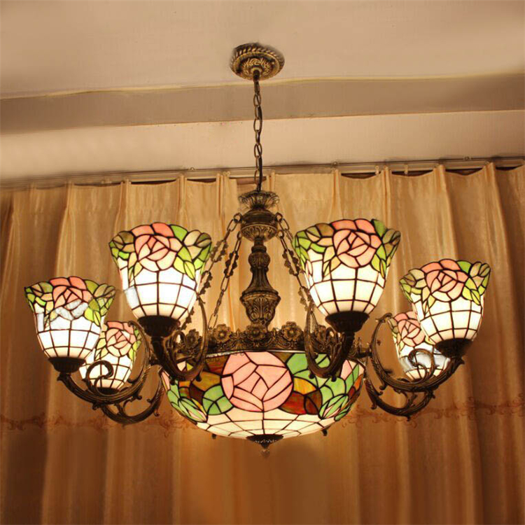 Art Stained Glass Rose Lamp European Vintage Artistic Tiffany Bar Cafe Dining Room Pendant Light