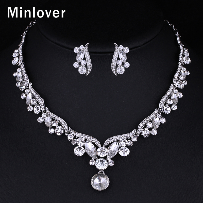 Minlover Rhinestone Crystal Bridal Jewelry Sets Necklaces Sets African Beads Jewelry Sets Wedding Engagement Jewelry TL201