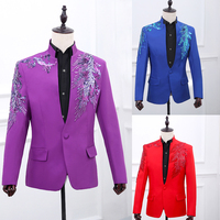 S 2XL!!! 2018 Male suits stand collar suit luxury paillette handmade flower twinset performance wear The singer's clothing