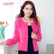 New winter Female solid color big yards short section Mink Cashmere Coat Cardigan Sweater Thick round neck knit jacket