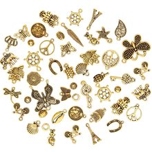 Hot 50 Pcs/Set New Style Antique Antique Gold Charm Pendants DIY Jewelry for Necklace Bracelet Craft Hanging Home Car Decoration(China)