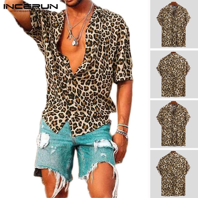 Summer Short Sleeve Leopard Print Shirt Men Lapel Neck Loose Button Up Blouse Breathable Streetwear Sexy Shirts Men INCERUN 2020 1