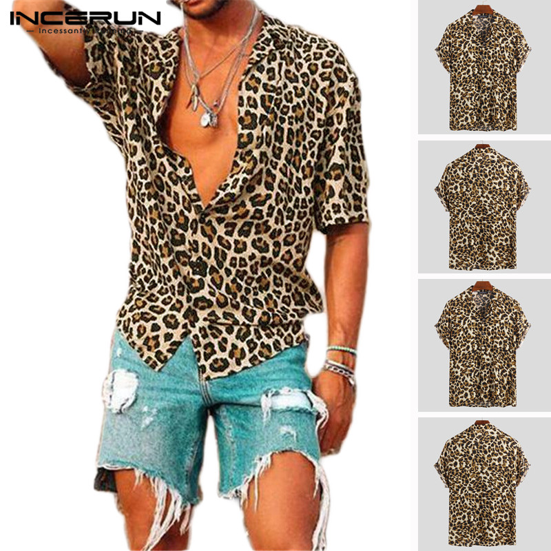 Summer Short Sleeve Leopard Print Shirt Men Lapel Neck Loose Button Up Blouse Breathable Streetwear Sexy Shirts Men INCERUN 2019