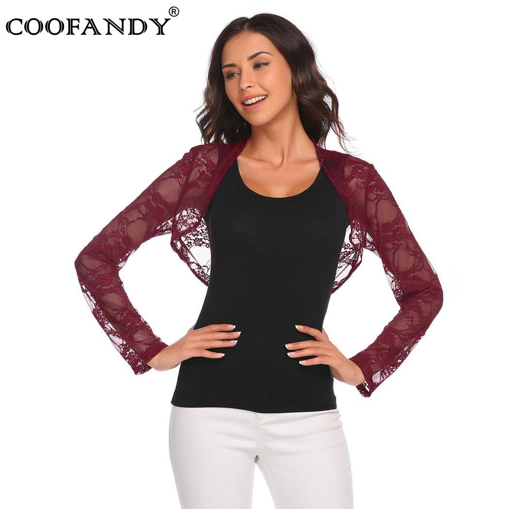 Shawl Casual Long Sleeve Lace Open Front Cropped Cardigan Short Women