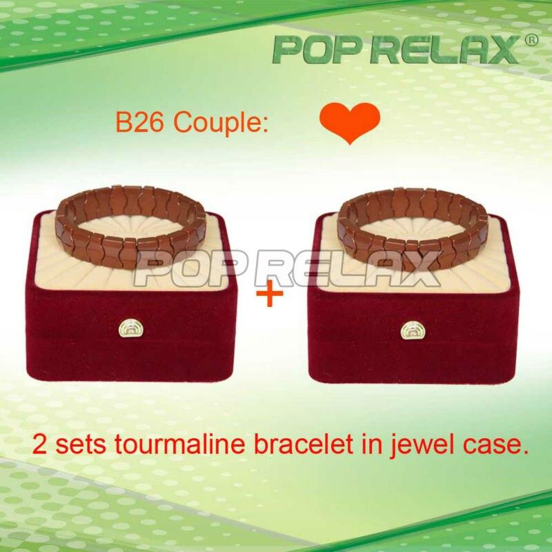 ФОТО Free Shipping 2sets Brown stone Tourmaline health bracelet of fashion POP RELAX PR-B26 Couple