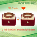 Free Shipping 2sets Brown stone Tourmaline health bracelet of fashion POP RELAX PR-B26 Couple