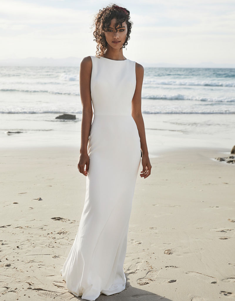 2019 Beach Wedding Dresses V Back Soft Satin Sweep Train Cheap Long Boho Bohemian Mermaid Bride Dress Backless Plus Size