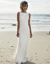 2019 Beach Wedding Dresses V Back Soft Satin Sweep Train Cheap Long Boho Bohemian Mermaid Bride Dress Backless Plus Size
