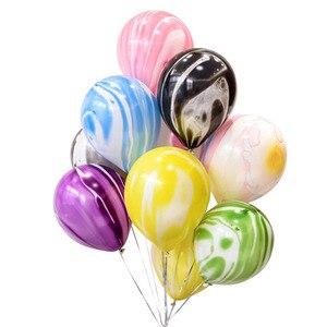 Image 3 - Kuchang Globo de látex redondo decoración para boda cumpleaños, fiesta, suministros de baño para bebé, ágata de mármol de 10 pulgadas, Arco Iris, 12 Uds.
