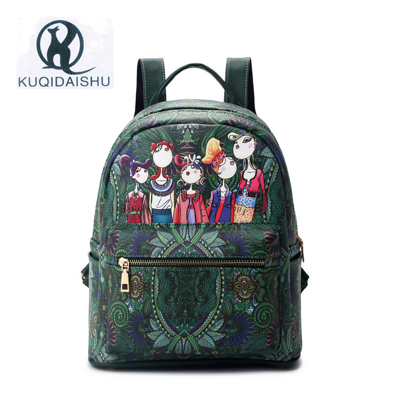 Дамские туфли из PU искусственной кожи рюкзак женская мода сумка женская 3D с рисунком граффити Рюкзаки школьная сумка милые Дорожные сумки д…