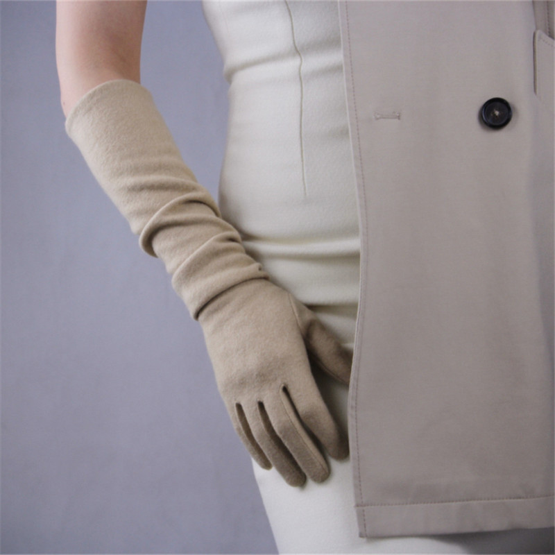 Cashmere Wool Women's Gloves 50cm Long Elastic Vintage Evening Vestido Gloves Female Classical French Stylish Elegance TB26-9