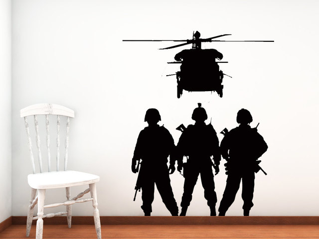 MIlitary Troop Wall Stickers Home Army Soldiers Silhouettes Wall