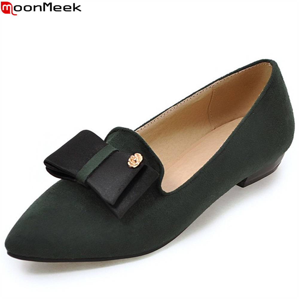 MoonMeek black army green fashion spring autumn flat shoes woman shallow casual single shoes women flock flats plus size 34-45 memunia 2017 fashion flock spring autumn single shoes women flats shoes solid pointed toe college style big size 34 47