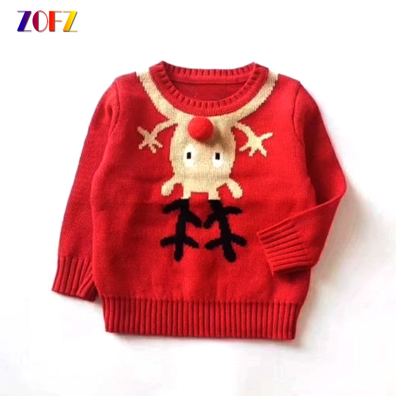 ZOFZ Children Christmas Clothes Boys Girls Knitted Sweater Deer Snowman Tree Pattern Knitting Baby Long Sleeve Pullover Jumper christmas snowfield deer pattern indoor outdoor area rug