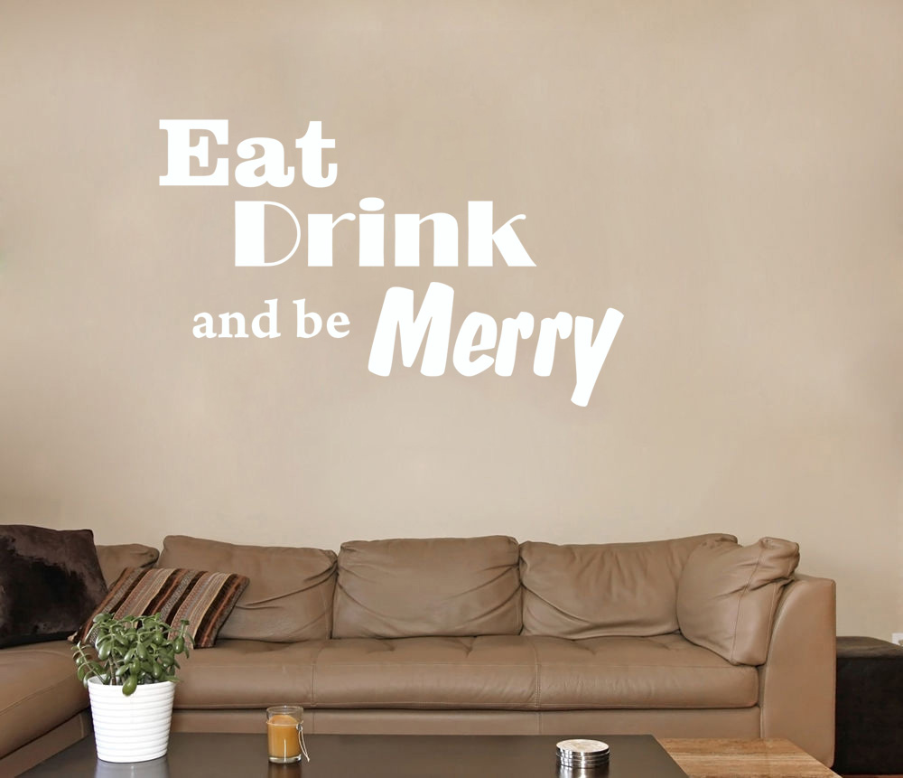 Eat Drink And Be Merry Wall Decal Removable Sticker Kitchen Decor ...