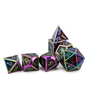 Новые черные и радужные металлические многогранные кости с черными игральные кости для DnD RPG MTG и других настольных игр D4 D6 D8 D10 D % D12 D
