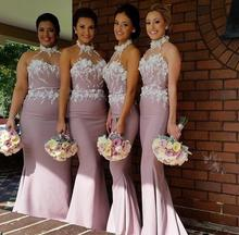 2016 Sexy Mermaid Bridesmaid Dresses Custom Made Plus Size Bridesmaid Gowns Halter Backless Zipper Back See Through Appliques