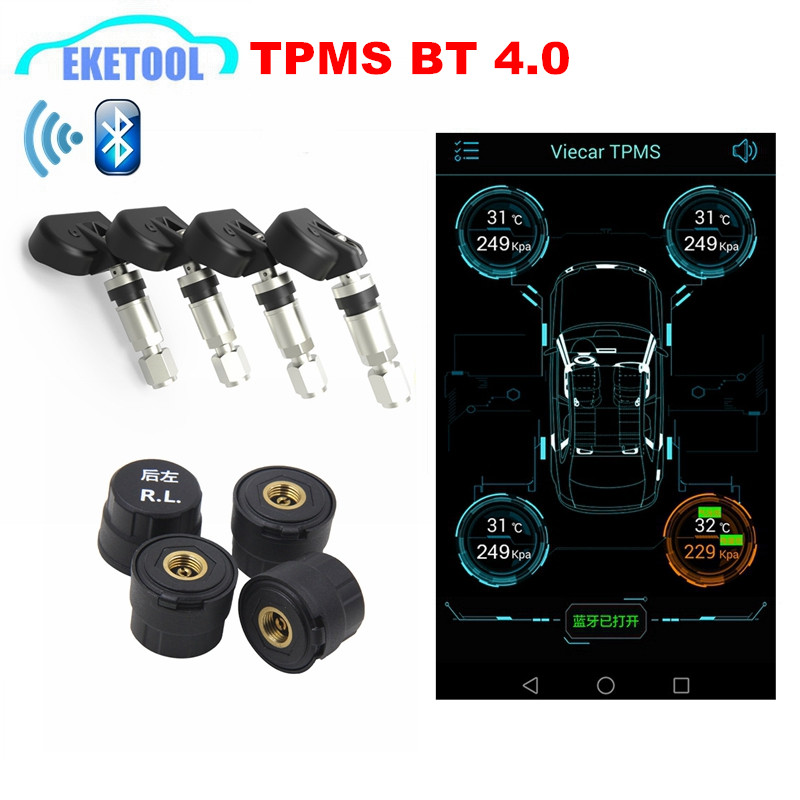 Newest Universal TPMS Bluetooth Android iOS Phone Auto Tire Pressure Monitor 4 Sensors IN EX Bluetooth