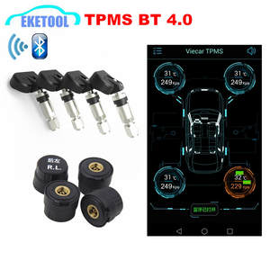 Newest Universal TPMS Bluetooth Android/iOS Phone Auto Tire Pressure Monitor 4 Sensors IN/EX Bluetooth Low Energy Alarm Care